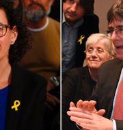Separatisten Marta Rovira från vänsterpartiet ERC till vänster och den avsatte regionpresidenten Carles Puigdemont till höger. TT/AP