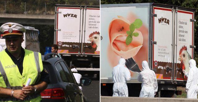 Polisinsats vid lastbilen.  TT.