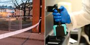Avspärrningar vid en av de misstänkta våldtäkterna i Malmö och DNA-analys. Arkivbilder. TT
