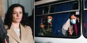 Zoryana Skaletska / några av de evakuerade på en buss TT