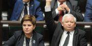 Jaroslaw Kaczynski, ledare för regeringspartiet Lag och rättvisa (Pis) och premiärministern Beata Szydlo. Alik Keplicz / TT / NTB Scanpix