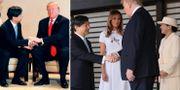 Trump och Naruhito hälsar på varandra i sällskap med fruarna Melania Trump och kejsarinnan Masako.  TT