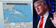 Den omdiskuterade kartan som Donald trump visade upp.  TT/AP