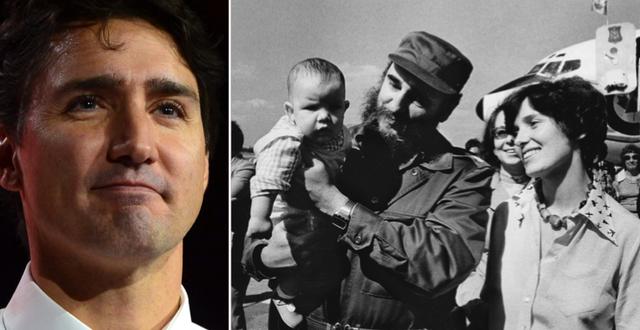 Trudeau/Castro tillsammans med Justin Trudeaus mamma och yngre bror, 1976 TT