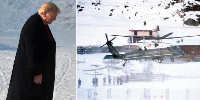 Trumps helikopter landar i Davos. TT