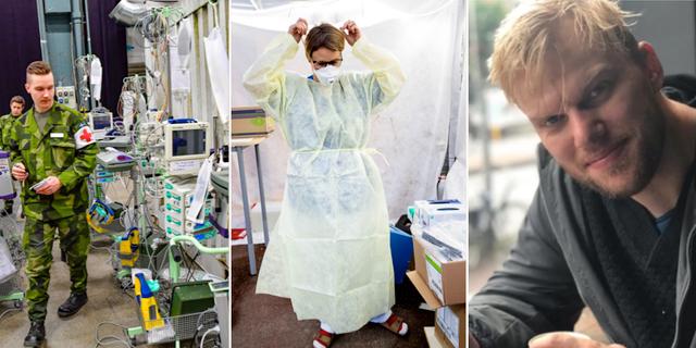 Fältsjukhuset i Älvsjömässan, coronaprovtagning och läkarstudenten Vilhelm. TT/Anton Westman