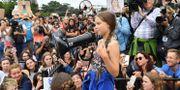 Greta Thunberg under fredagens klimatprotest utanför Vita huset. NICHOLAS KAMM / AFP