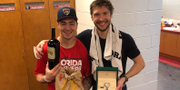 Bilden som Frank Vatrano har delat på Instagram. Vatrano till vänster och Bobrovskij till höger. Frank Vatrano