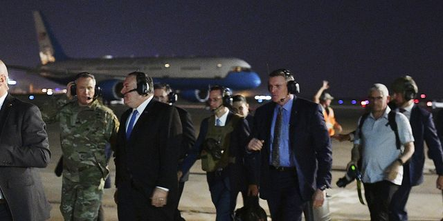 USA:s utrikesminister Mike Pompeo lämnar Bagdad efter ett möte i förra veckan. TT