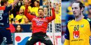 Norges målvakt Torbjørn Bergerud jublar under matchen mot Sverige. Till höger Sveriges Kim Ekdal du Rietz. TT