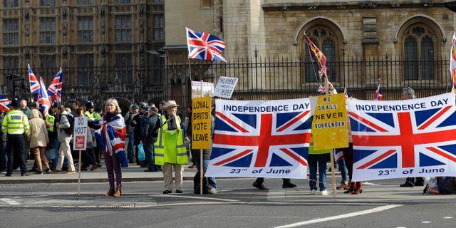 Pro brexit-demonstranter utanför parlamentsbyggnaden i London.  Kirsty Wigglesworth / TT NYHETSBYRÅN
