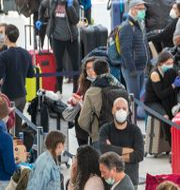 Resenärer med ansiktsmasker på JFK-flygplatsen i New York. Mary Altaffer / TT NYHETSBYRÅN