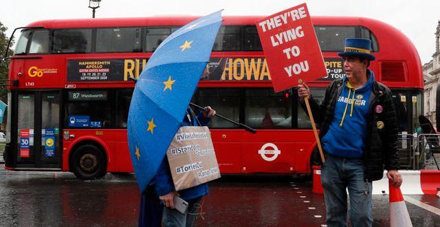 Pro-EU-demonstranter utanför det brittiska parlamentet på onsdagen. Frank Augstein / TT NYHETSBYRÅN