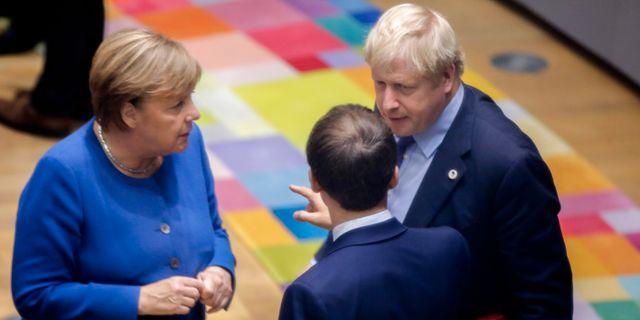 Tysklands förbundskansler Angela Merkel, Frankrikes president Emmanuel Macron och Storbritanniens premiärminister Boris Johnson.  Olivier Matthys / TT NYHETSBYRÅN