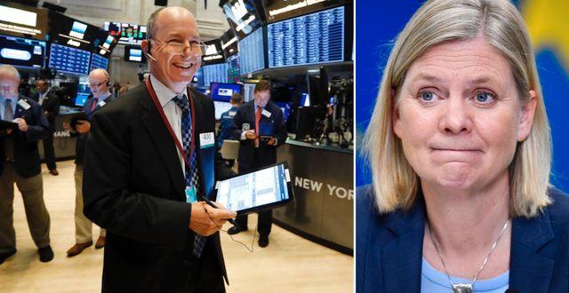 Arkivbilder. Trader på Wall Street, finansminister Magdalena Andersson. TT