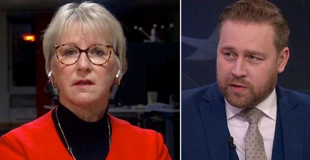 Margot Wallström och Mattias Karlsson under SVT:s valvaka. SVT