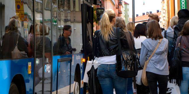 Unga köar till en buss i Stockholm. Hasse Holmberg / TT / TT NYHETSBYRÅN