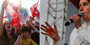 """Meral Aksener, presidentkandidat för """"Det bra partiet"""" (IYI), och partiets anhängare. TT"""