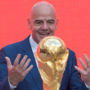 FIFA President Gianni Infantino gestures looking at the FIFA World Cup trophy at Moscow's Luzhniki Stadium, Russia, on Saturday, Sept. 9, 2017. From September 2017, the original trophy starts its tour over 24 Russian cities and more than 50 countries around the globe ahead of 2018 World Cup to start at Luzhniki stadium on June 14, 2018. Ivan Sekretarev / TT NYHETSBYRÅN
