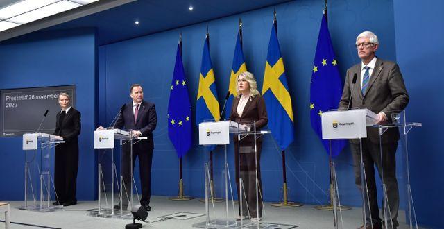 Illustrationsbild från presskonferens med regeringen och Folkhälsomyndigheten Jonas Ekströmer/TT / TT NYHETSBYRÅN