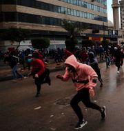 Bild från protester i Tripoli, 28 januari.  Hussein Malla / TT NYHETSBYRÅN
