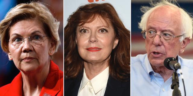 Elizabeth Warren, Susan Sarandon och Bernie Sanders  TT