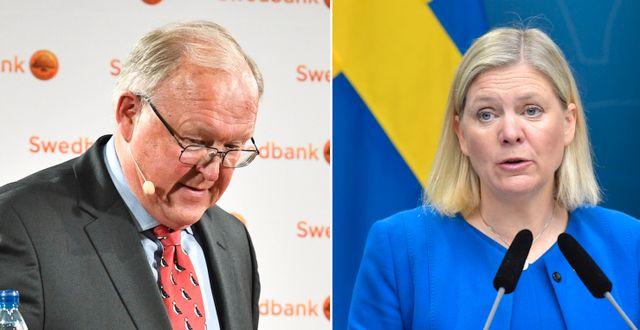 Swedbanks ordförande Göran Persson och Sveriges finansminister Magdalena Andersson (S) Claudio Bresciani/TT och Ali Lorstani/TT