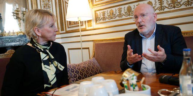 Utrikesminister Margot Wallström (S) och EU-kommissionären och Europeiska kommissionens första vice ordförande Frans Timmermans. Fredrik Persson/TT / TT NYHETSBYRÅN
