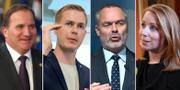 Stefan Löfven (S), Gustav Fridolin (MP), Jan Björklund (L) och Annie Lööf (C). TT