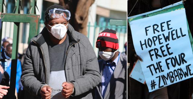Hopewell Chin'ono utanför domstolen 22 juli/demonstrant kräver att journalisten TT