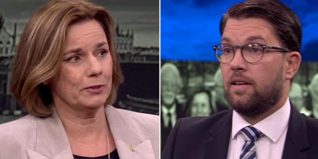 Isabella Lövin (MP) och Jimmie Åkesson (SD) SVT