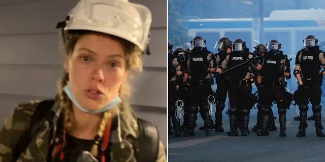 Nina Svanberg/Poliser i Minneapolis under protesterna Expressen/TT