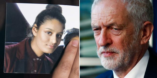 Shamima Begum och Jeremy Corbyn.  TT