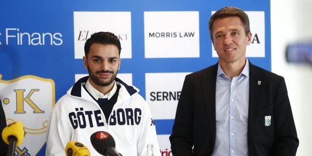 Under en pressträff på Kamratgården i Göteborg presenterades Poya Asbaghi som ny tränare för IFK Göteborg av IFK Göteborgs sportchef Mats Gren. Thomas Johansson/TT / TT NYHETSBYRÅN
