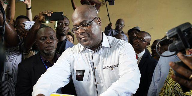 Felix Tshisekedi röstar under valet Jerome Delay/AP/TT