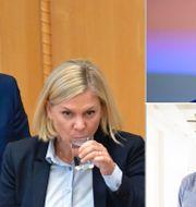 Illustrationsbild. Finansminister Magdalena Andersson (S), riksbankschefen Stefan Ingves (uppe till höger) och professorn Harry Flam (nere till höger). TT