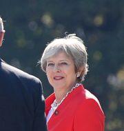 Theresa May tillsammans med andra stats- och regeringschefer vid EU-mötet i Salzburg. Lisi Niesner / TT NYHETSBYRÅN