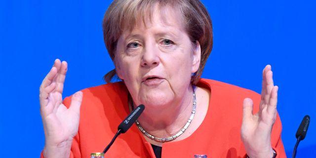 Merkel i Kiel på lördagen. Carsten Rehder / TT NYHETSBYRÅN