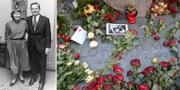 Lisbeth och Olof Palme år 1962/Statsministerns grav i Stockholm 2016. TT