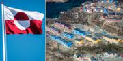 Grönlands flagga och Grönlands näst största stad Sisimut. TT