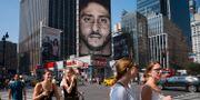 Nikes reklamaffisch med Colin Kaepernick i New York.  Mark Lennihan / TT NYHETSBYRÅN