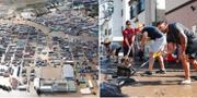Vy över Koriyama/frivilliga rugbyspelare hjälper till att få bort vatten från gatan. AP/TT