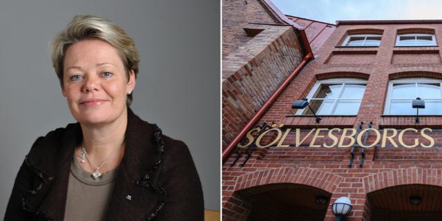 Moderaternas kulturpolitiska talesperson Lotta Finstorp och exteriörbild på Sölvesborgs kommunhus.  TT