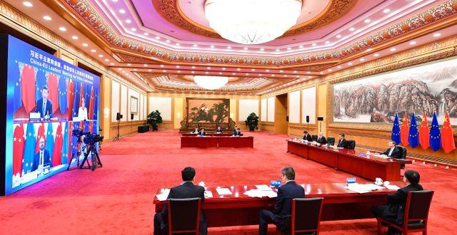 Arkivbild: I september höll EU-ledare ett videmöte med Kinas ledare.  Li Xiang / TT NYHETSBYRÅN