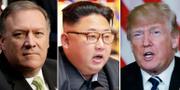Mike Pompeo, Kim Jong-Un och Donald Trump. TT