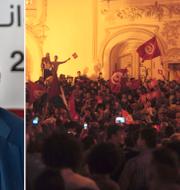 Mounir Baatour och en folksamling i Tunisien i samband med valet. TT
