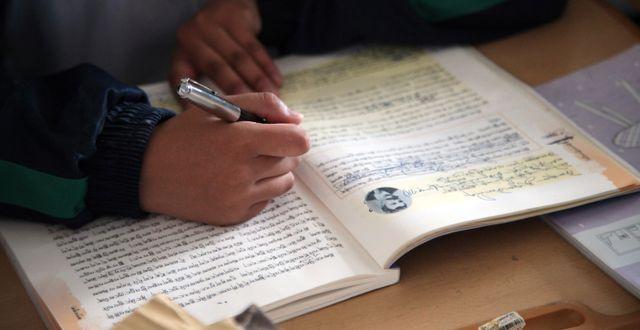 Arkivbild. Elev skriver i en tibetansk-språkig lärobok.  Aritz Parra / TT NYHETSBYRÅN