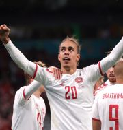 Danmarks Yussuf Poulsen firar sitt mål. FRIEDEMANN VOGEL / BILDBYRÅN