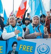 Uigurer runt om i världen har länge protesterat mot Kinas behandling av folkgruppen. Arkivbild. Salvatore di Nolfi / TT NYHETSBYRÅN/ NTB Scanpix