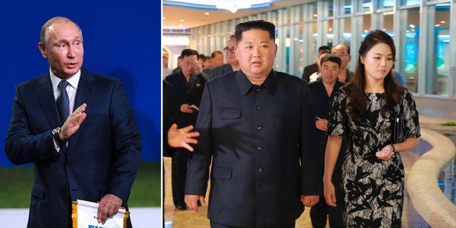 Till vänster: Vladimir Putin, Till höger: Kim Jong-Un och hans fru Ri Sol-Ju på en bild som distribueras av statskontrollerade nordkoreanska medier TT